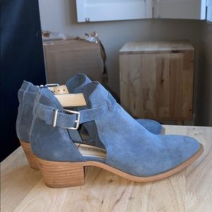 Soul Society blue suede cutout pointed toe bootie